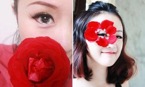Hay hay trang điểm dự tiệc bằng cánh hoa hồng