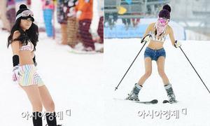 Mặc bikini trượt tuyết... thú chơi lạ ngày đông