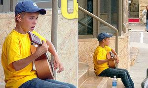 Ngỡ ngàng ảnh Justin Bieber hát dạo kiếm tiền
