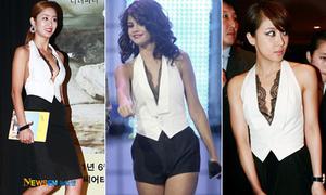 Selena Gomez 'đụng' sao Hàn áo gile sexy