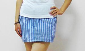 Úm ba la quần cũ thành váy kẻ cực style