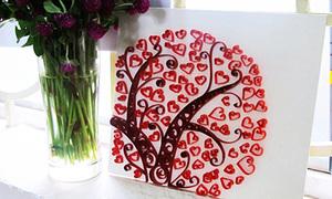 Thiệp cây trái tim cực xinh từ giấy xoắn