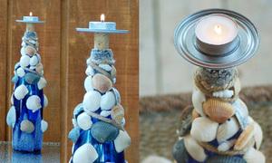 Biến chai thủy tinh và vỏ sò thành giá nến cực độc