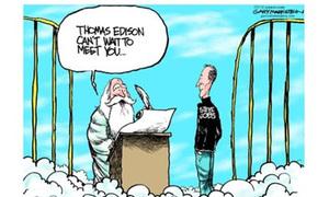Chùm ảnh ngộ nghĩnh của Steve Jobs trên... thiên đường