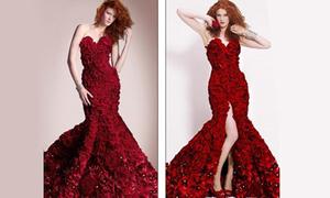 Váy làm từ 2.000 bông hồng cho ngày Valentine lãng mạn