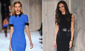 Victoria lăng xê mốt thắt lưng 2 tầng tại tuần thời trang