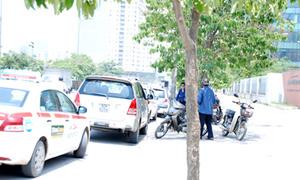 Taxi dàn hàng dài trước cổng trường Ams