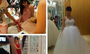 Lý Tiểu Lộ chọn váy cưới giấu bụng bầu