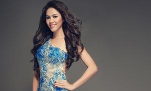 Hoàng My chọn đầm xanh mướt đêm Chung kết Miss World