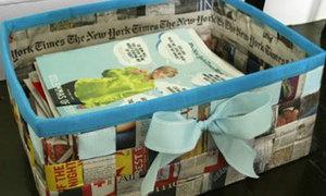 Đan báo cũ thành thùng đựng đồ hữu dụng