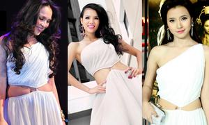 Chân dài Việt 'tỉ thí' khi đụng hàng váy trắng