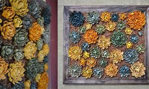 Tranh hoa thược dược từ vỏ hạt dẻ