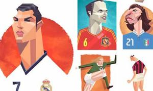 Sao bóng đá 'biến dạng' trong tranh