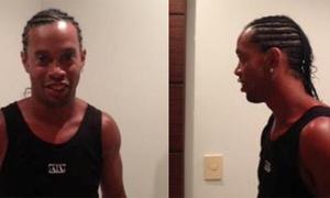 Ronaldinho để đầu 'đuôi ngựa' giống Becks