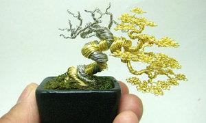 Cây cảnh bonsai tí hon từ dây thép