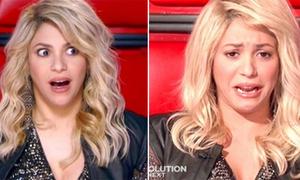 Shakira mếu máo trên ghế nóng The Voice Mỹ 4