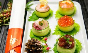 Ứa nước miếng sushi cuộn dưa chuột