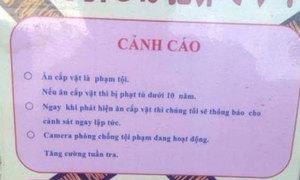 Bảng cấm ăn cắp bằng tiếng Việt ở Nhật gây tranh cãi