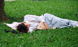 Sĩ tử ngủ vật vờ chờ thi môn Lý