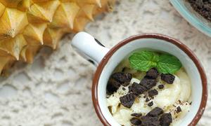 Chẹp chẹp măm kem sầu riêng mix bánh oreo lạ miệng