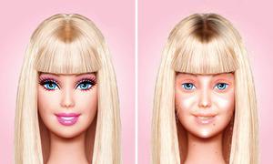Búp bê Barbie lộ mặt nhợt nhạt khi không make-up