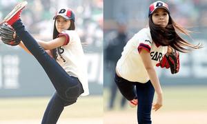 Mỹ nhân Hàn khoe dáng khi ném bóng chày