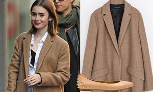 Copy sao: Áo khoác oversize sành điệu như Lily Collins