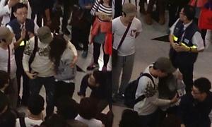 Jessica bị bảo vệ đẩy ngã ở sân bay