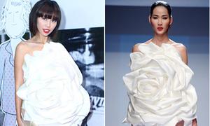 Hà Anh, Hoàng Thùy đụng váy hoa hồng bạch