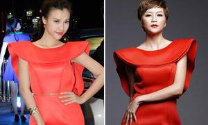 Hoàng Oanh đụng váy lạ với Thiều Bảo Trang