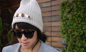 Mũ len lấp lánh họa tiết đá