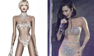 Miley lăng xê bodysuit trong suốt giống Phương Trinh
