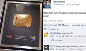 JV nhận quà từ YouTube nhờ 1,3 triệu lượt theo dõi