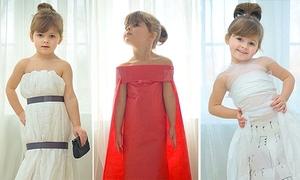 'Thiên thần' 4 tuổi tự chế váy áo lung linh từ giấy