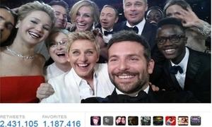 Ảnh 'tự sướng' của dàn sao Oscar gây bão Twitter