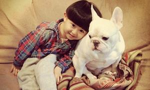 Cực yêu bộ ảnh em bé Nhật đùa nghịch bên cún cưng