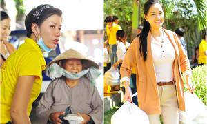 Maya, Trang Trần đội nắng đi phát cơm cho người nghèo