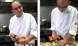 Video: Gọt táo siêu tốc bằng... máy khoan