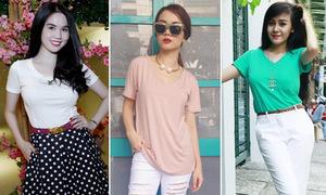 3 cách mix áo thun trơn đơn giản mà đẹp như sao Việt