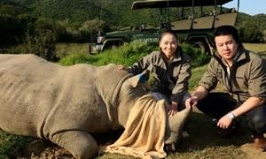 Thu Minh, Thanh Bùi âu yếm tê giác Nam Phi