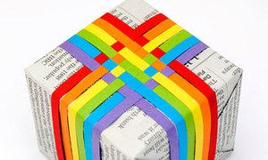 Trang trí hộp quà đơn giản với giấy màu