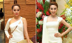 Minh Hằng, Ngân Khánh so dáng với váy lệch
