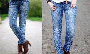 Diện quần jeans họa tiết da báo sành điệu