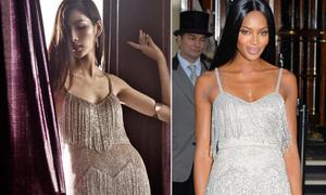 Hoàng Thùy 'mặc chung' váy tua rua gợi cảm với Naomi Campbell