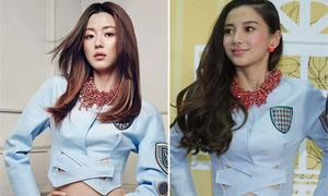Jun Ji Hyun, Angelababy đọ eo thon với áo khoét