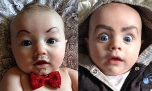 Rộ mốt chụp ảnh vẽ lông mày kỳ quặc cho em bé