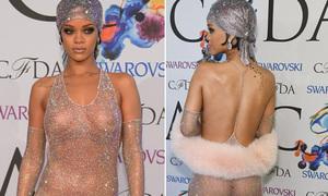Rihanna khoe thân kỳ quặc khi nhận giải 'Biểu tượng thời trang'