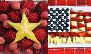 Khéo tay xếp hoa quả thành hình lá cờ các nước
