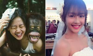 Facebook sao 18/6: Văn Mai Hương so độ giống với...khỉ, Khả Ngân diện váy cưới