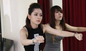 Chi Pu căng thẳng tập vũ đạo trong hậu trường